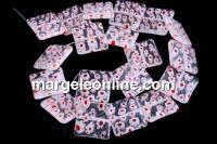 Margele sticla Millefiori, patrat, transparent cu rosu, 20x20mm