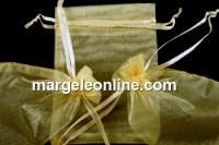 Saculet organza, topaz auriu, 9x7cm - x20