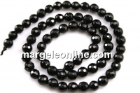 Onix, black, faceted round, 6mm