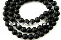 Onix, matt black, round, 6mm