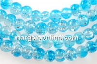 Margele sticla crackle, turcoaz-alb, 4.5mm - x220