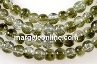 Margele sticla crackle, verde oliv-alb, 4.5mm - x220