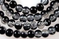 Margele sticla crackle, negru-alb, 6.5mm - x140