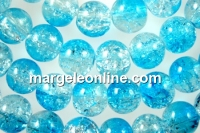 Margele sticla crackle, turcoaz-alb, 8mm - x110