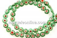 Margele chevron, disc, verde cu rosu, 8mm