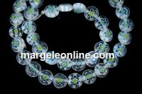 Margele chevron, disc, alb cu turcoaz, 8mm