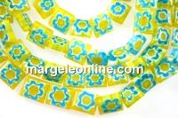 Margele chevron, patrat, galben cu turcoaz, 10mm