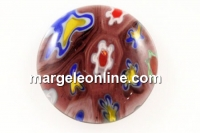 Cabochon Millefiori, mov grena-multicolor, 15mm