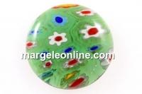 Cabochon Millefiori, verde-multicolor, 15mm