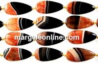 Natural agate, druzy quartz geode, orange, flat drop, 40mm