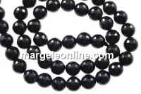 Onix, black, faceted round, 8mm
