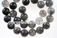 Grey cloudy quartz, round, 12mm