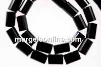 Onix, black, faceted tube, 11.5x7.5mm