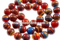 Multicolor syntethic malachite, round, 8mm