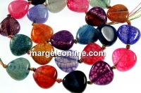 Natural agate, dragon vein multicolor, heart, 14mm