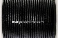 Snur piele naturala, negru, 1.5mm - x1m