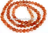 Natural clear sunstone, A+ grade, round, 5mm