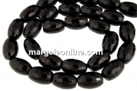 Onix, black, faceted oval, 12x8mm