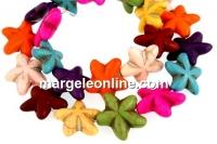 Multicolor magnesite, star, 21x20mm