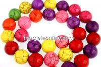 Multicolor magnesite, round, 12mm