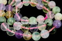 Mix white, pink quartz, prehnite, amethyst, citrine, microfaceted round, 10mm