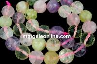 Mix white, pink quartz, prehnite, amethyst, citrine, microfaceted round, 12mm
