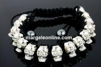 Bratara  shamballa cu 15 cranii metalice - x1