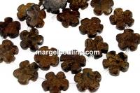 Bronzite, flower, 15.5mm