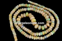Natural golden ethiopian fire opal, rondelle, 4-6mm