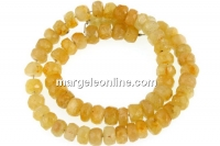 Yellow sapphire, natural stone, faceted rondelle, 4mm