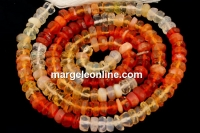 Mexican fireopal, natural stone, faceted rondelle, 4mm