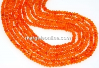 Carnelian, natural stone, faceted rondelle, 3-3.2mm