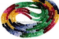 Ruby, sapphire and emerald, natural stone, faceted rondelle, 3.5mm