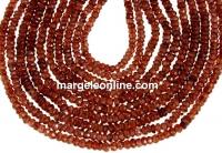 Hessonite garnet, natural, faceted rondelle, 3mm