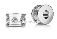 Accesoriu decor rondela cu cristale, argint 925, 5x3mm - x1