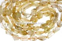 Rutilated quartz, diamond cut, free form, 12-15mm