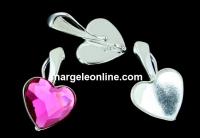 Baza pandantiv argint 925, cabochon inima 10mm - x1
