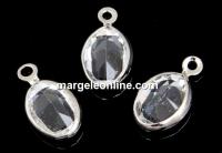 Swarovski, charm pl. cu rodiu, oval, crystal, 8x6mm - x2