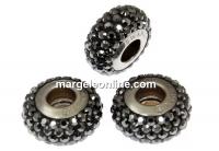 Swarovski, becharmed pave hematite black, 13.5mm - x1