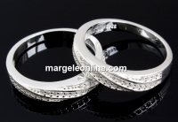 Inel pave twist argint 925, masiv, crystale Swarovski, 17.3mm - x1