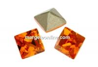 Swarovski, fancy chaton Square, tangerine, 3mm - x10