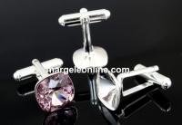 Baze butoni argint 925 rodiat, Swarovski 4470 si 4461 de 12mm - x1 per.