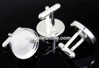 Baza butoni argint 925, cabochon 20mm - x1per