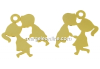 Pandantiv baietel si fetita argint 925 placat cu aur, 18mm  - x1