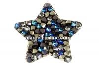 Swarovski, pand. f. rocks, berm. blue mettalic light gold, 22mm - x1