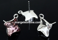 Tortite argint 925 romb cu tija si za pt Swarovski 4485 de 10.5mm - x1per
