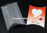 Cutie martisor cu suport transp. cristal, portocaliu, 6.5x5cm - x20set
