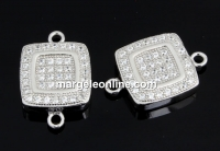 Link patrat cu cristale, argint 925 placat cu rodiu, 15mm  - x1
