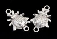 Link buburuza cu cristale, argint 925 placat cu rodiu, 12mm  - x1