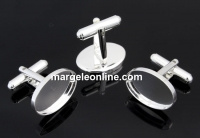 Baze butoni argint 925 pentru cabochon de 18x13mm - x1 pereche